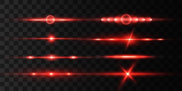 Rotes horizontales linseneffektset, laserstrahlen, schönes lichtreflex.