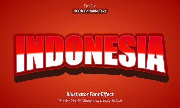 Rotes indonesien - bearbeitbarer texteffekt