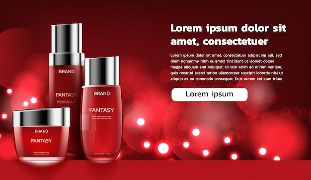 Rotes kosmetikset mit kleinen hellen lichtern
