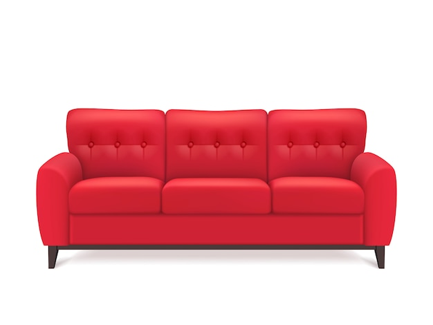 Rotes ledernes sofa realistic illustration