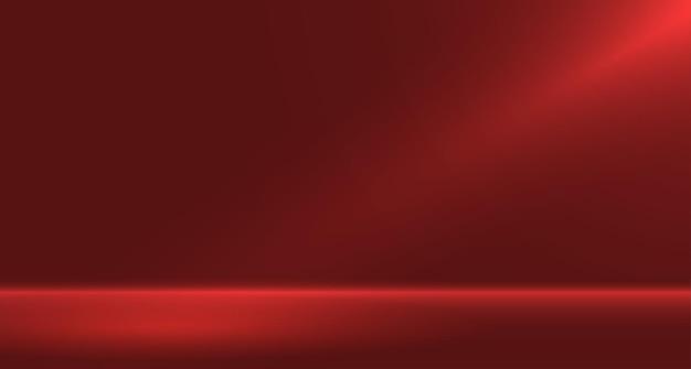 Rotes leeres raumstudio für hintergrund und anzeige von content-design-bannern für werbung