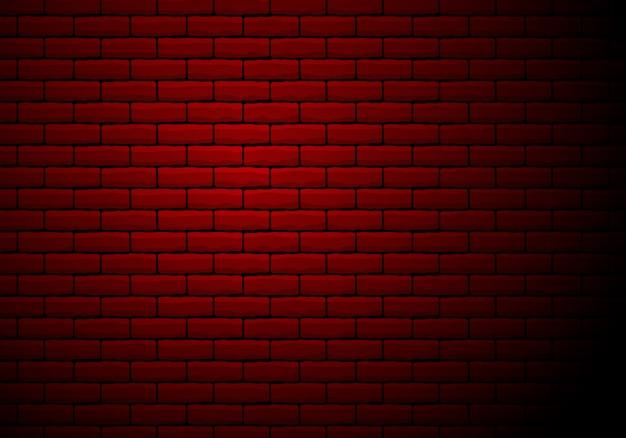 Rotes licht glühte rustikale backsteinmauer, illustration
