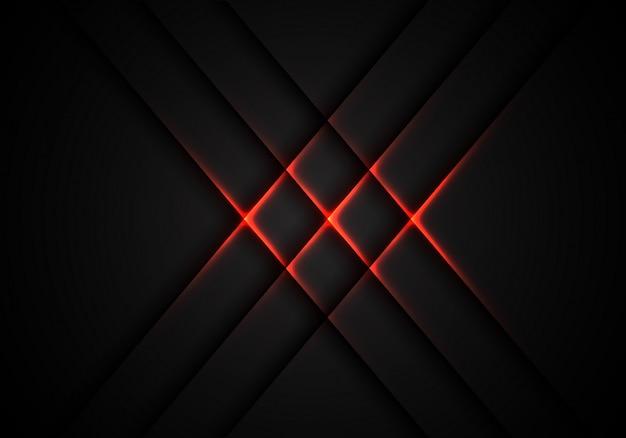 Rotes lichtkreuzmuster auf grauem technologiehintergrund.
