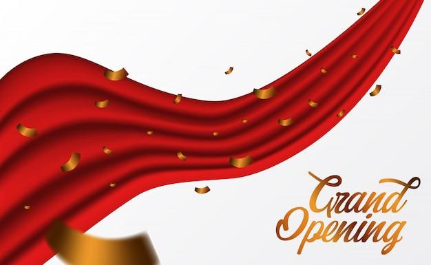 Rotes luxusseidenband der festlichen eröffnung