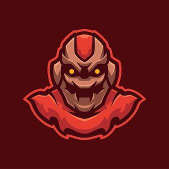 Rotes monster maskottchen e-sport-logo-charakter