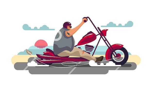 Rotes motorrad des bikers, der flache illustration des strandes und des sonnenuntergangs bacground reitet.