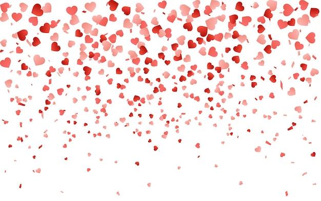 Rotes muster von konfetti mit zufälligen fallenden herzen. grenzgestaltungselement für festliches banner, grußkarte, postkarte, hochzeitseinladung, valentinstag und speichern sie die datumskarte.