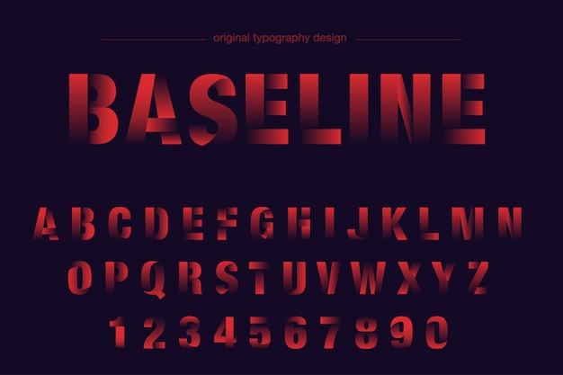 Rotes mutiges geschnittenes typografiedesign