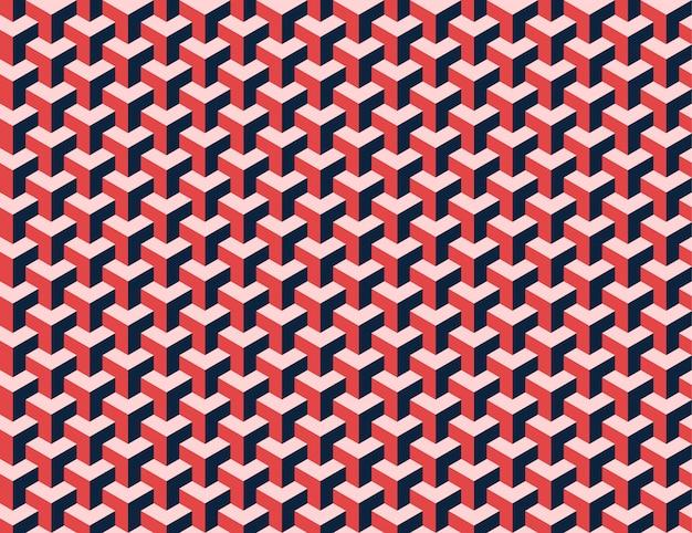 Rotes nahtloses muster der modernen isometrischen würfel