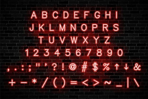 Rotes neonalphabet mit großbuchstaben und zahlen
