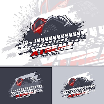 Rotes off road-autologo, das schlammhindernisse überwindet, logo in drei versionen.