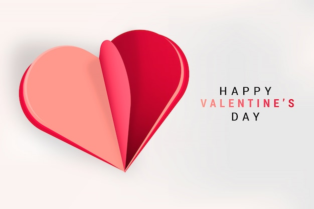 Rotes papercut herz der valentinsgruß-verkaufskarte