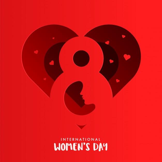 Rotes papier-schnitt-herz-form-gruß-karten-design mit zahl 8 und weiblichem gesicht für den internationalen tag der frauen.