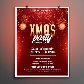 Rotes partyfeier-fliegerplakat der frohen weihnachten