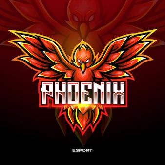 Rotes phoenix-esport-logo für elektronisches sportspiel-logo.