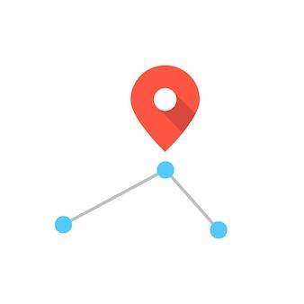 Rotes pin-symbol auf einfacher route. konzept der positionierung, nadel, reise, transport, abzeichen, entdeckung, tourismus. isoliert auf weißem hintergrund. flacher stil trend moderne logo-design-vektor-illustration