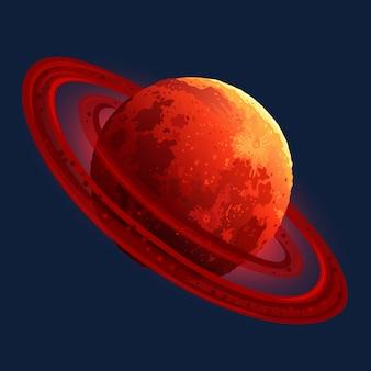 Rotes planetensymbol für raumschlitzspiel