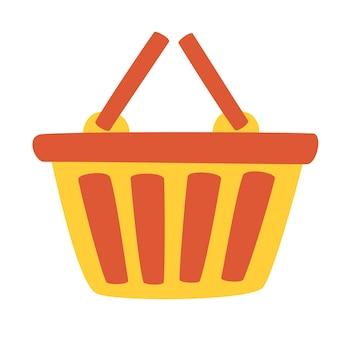 Rotes plastik-warenkorb-symbol. supermarkt oder lokaler laden. praktischer verbraucher für perfekte aufbewahrung oder einfaches tragen. flache vektorgrafik.