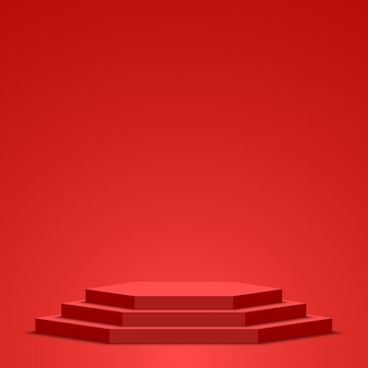 Rotes podium. sockel. szene.