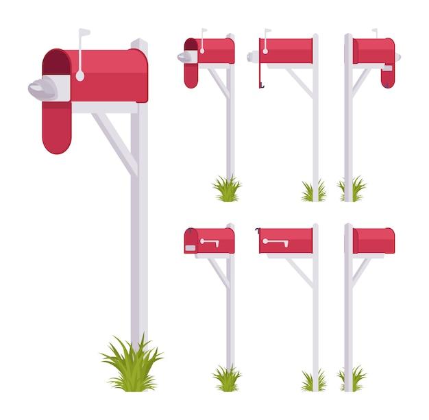 Rotes postfach eingestellt. stahlkiste in der nähe einer wohnung, straßenecke für post, um einen brief mit indikator zu setzen und zu bekommen. landschaftsarchitektur und städtebauliches konzept. stil cartoon illustration
