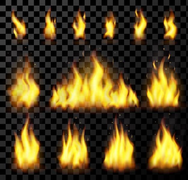 Rotes realistisches feuer stellte auf einen transparenten hintergrund ein. für gefahrenkonzept oder web. flammenset und rotes feuer gesetzt