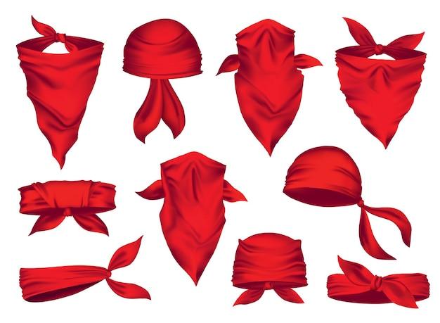 Rotes realistisches kopftuch an hals und kopf