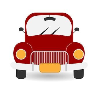 Rotes retro-auto roter pickup-truck mit scheinwerfern