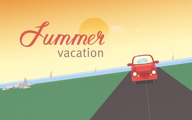 Rotes retroauto, das entlang straße gegen meer mit segelyachten und sonnenuntergangshimmel auf hintergrund reitet. sommerferien und ferien, tourismus und reisen. moderne farbige illustration im flachen stil.