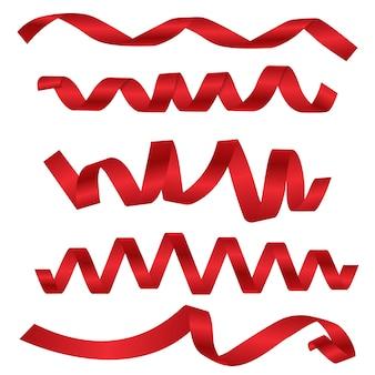 Rotes rollenband des bandes für feiertagsfahne und -geburtstag.