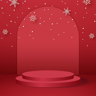 Rotes rundes podium für produkthintergrund und vorlagenmodell für weihnachtsevent