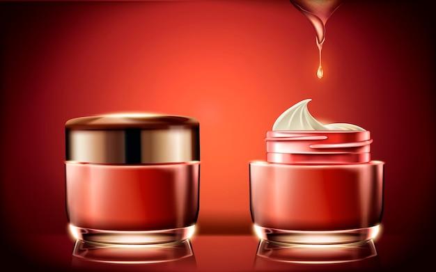 Rotes sahneglas, leere kosmetikbehälterschablone zur verwendung mit cremetextur in der illustration, glühender roter hintergrund