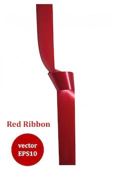 Rotes satinband mit einem knoten. gestaltungselement. vektor-illustration