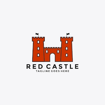 Rotes schlosssymbol-abzeichen-logo-design