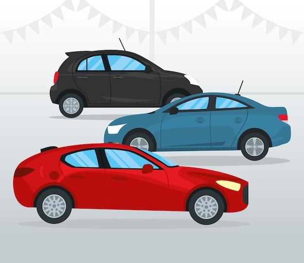 Rotes schrägheckauto und autos über grauem hintergrund, buntes design