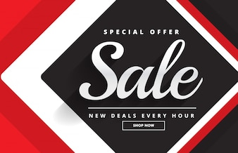 Rotes schwarzes fantastisches Verkaufsfahnen-Schablonendesign für Förderung