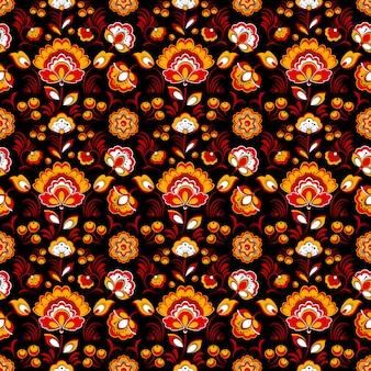 Rotes schwarzes nahtloses mit blumenmuster in der russischen tradition
