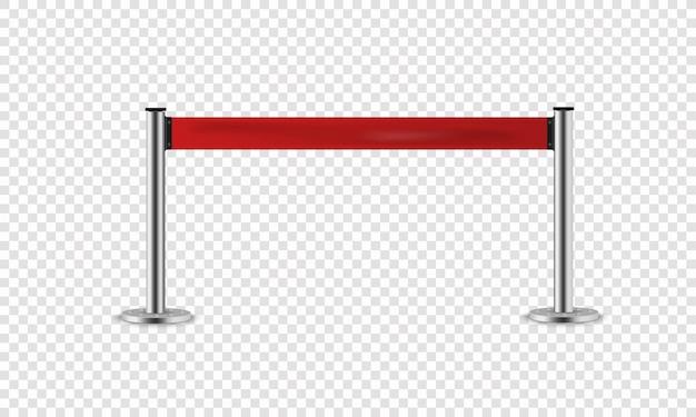 Rotes seil für messehallen und autohäuser. realistische umzäunung für exklusiven eingang oder sicherheitszone