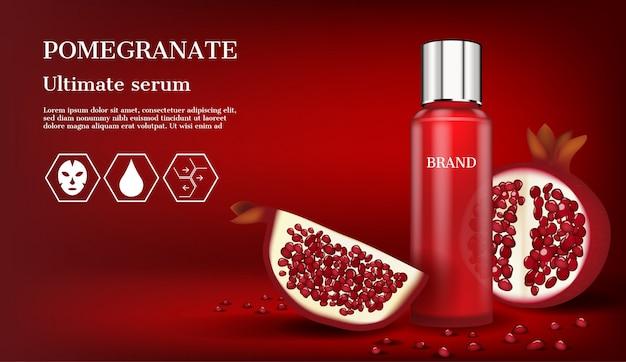 Rotes serum mit ikonen und scheibengranatapfel