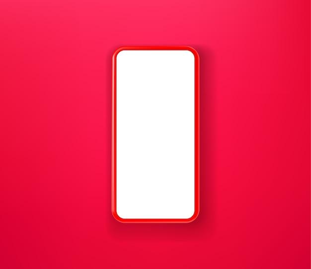 Rotes smartphone auf rotem hintergrund