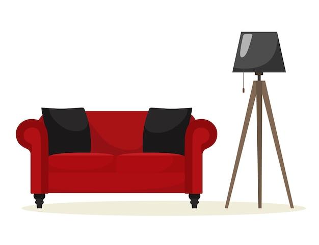 Rotes sofa mit einer stehlampenillustration