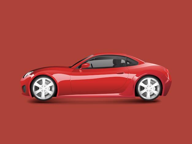 Rotes sportauto in einem roten hintergrundvektor
