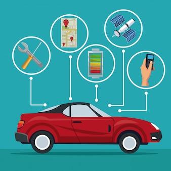 Rotes sportwagenfahrzeug mit ikonen satellitensuche
