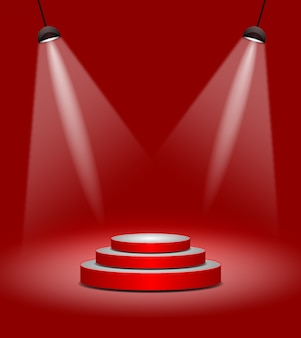 Rotes stadium oder podium der modernen beleuchtungszusammenfassung