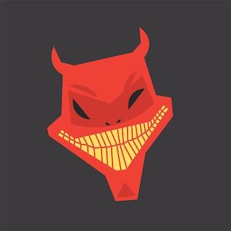Rotes teufelsgesicht grinsen im großen lächeln halloween-vektorbild