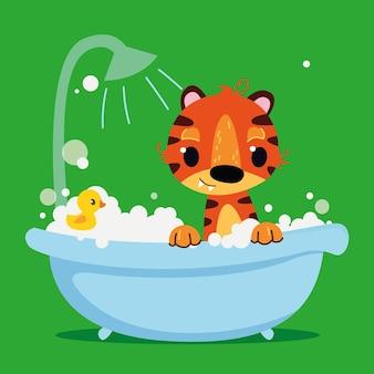 Rotes tigerbaby im badezimmer vektordruck cartoon-figur sauberkeit im badezimmer
