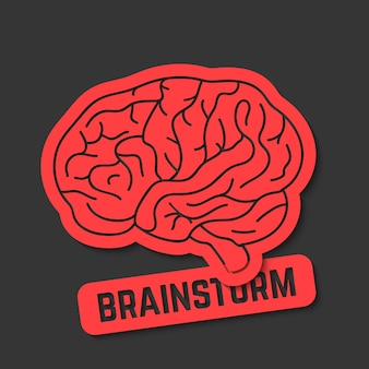 Rotes umriss-gehirnsymbol wie brainstorming. konzept der neurologie, schöpfung, intellektuelle, psychologische motivation. auf schwarzem hintergrund isoliert. flacher stil trend moderne gehirn-logo-design-vektor-illustration