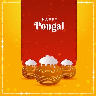 Rotes und gelbes plakat-design mit schlammtöpfen voller traditioneller gerichte für pongal-feier
