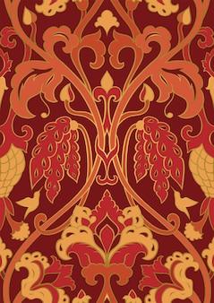 Rotes und oranges blumenmuster. nahtloses muster mit blumen und kolibri.
