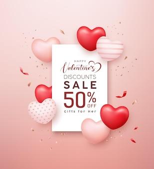 Rotes und rosa herz des glücklichen valentinstagsverkaufs