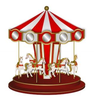 Rotes und weißes karussell mit weißen pferden